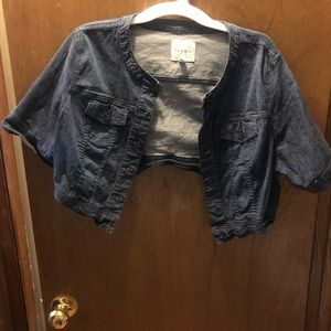 Crop short sleeve blue jean jacket